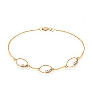 دستبند طلا زنانه طرح هندسی با نگین کد cb309