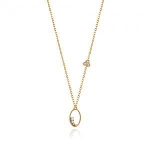 گردنبند طلا زنانه طرح هندسی با نگین کد cn358