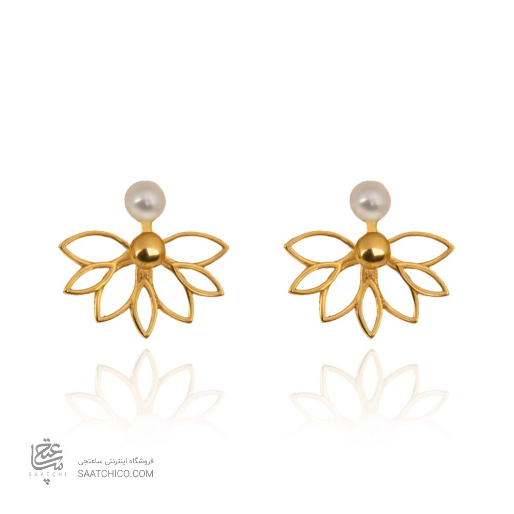 گوشواره  طلا زنانه طرح گل با مروارید کد xe204