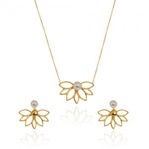 نیم ست طلا زنانه طرح گل با مروارید کد xs205