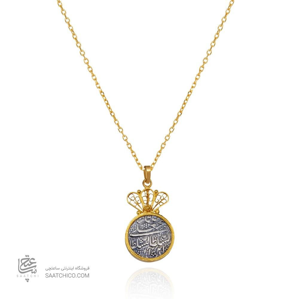آویز طلا زنانه با سکه نقره کد xp222