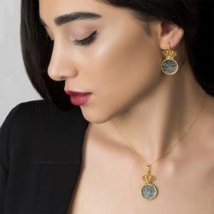 گوشواره طلا زنانه با سکه نقره کد xe248