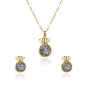 نیم ست طلا زنانه با سکه نقره کد xs213