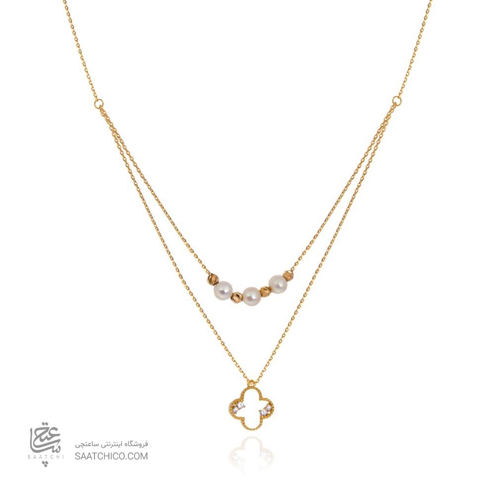 گردنبند طلا زنانه طرح ونکلیف با مروارید کد xn121