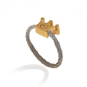 انگشتر طلا  فرد طرح تاج کد cr306