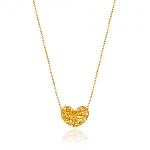 گردنبند طلا زنانه طرح قلب فیوژن کد cn394