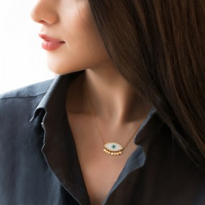 گردنبند طلا زنانه طرح چشم نظر کد cn365