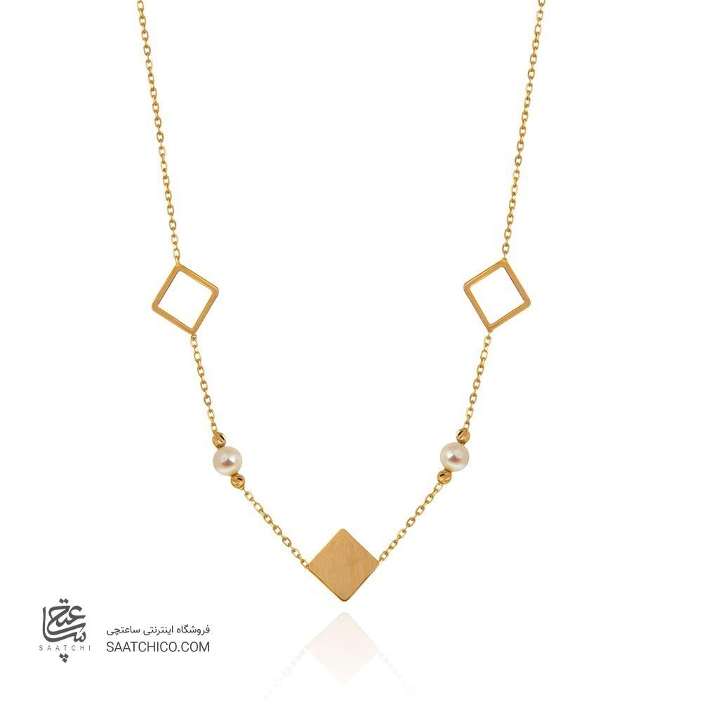 گردنبند طلا زنانه طرح هندسی با مروارید کد xn150