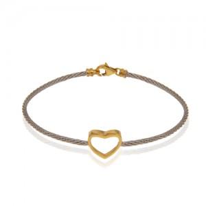 دستبند طلا فرد طرح قلب کد cb342