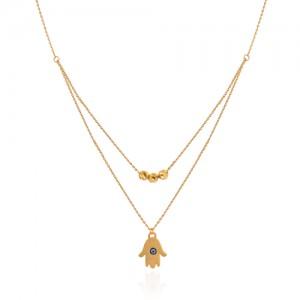گردنبند طلا زنانه طرح دست همسا کد ln811