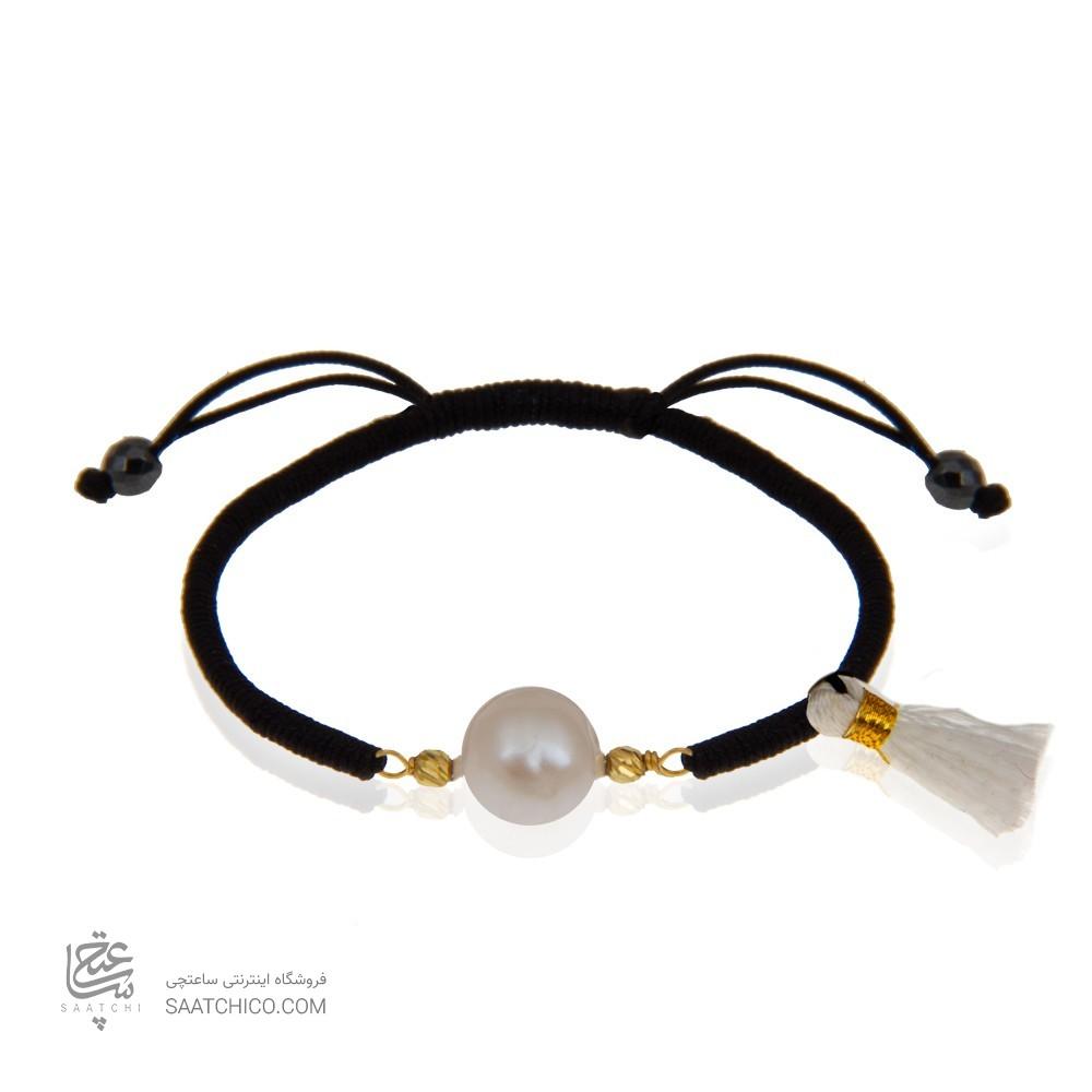 دستبند طلا با مروارید و بافت کد XB992