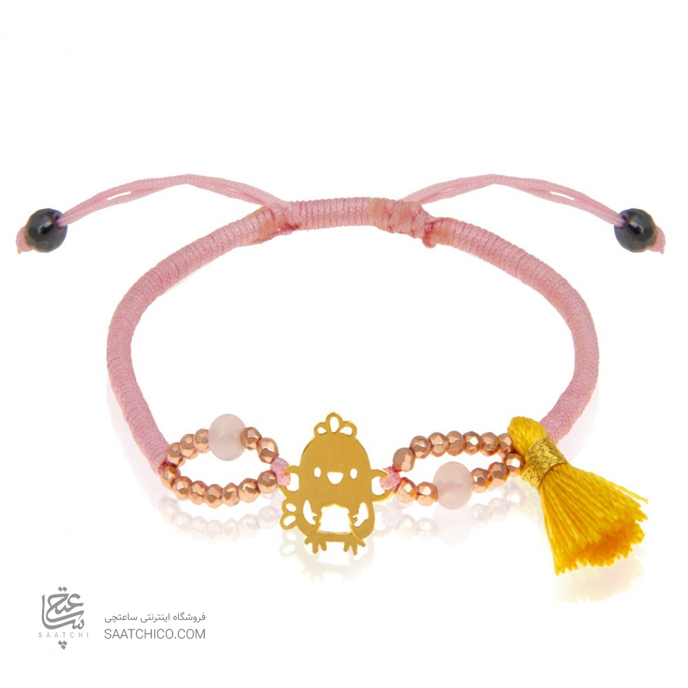 دستبند طلای کودک با بافت و سنگ کد KB304