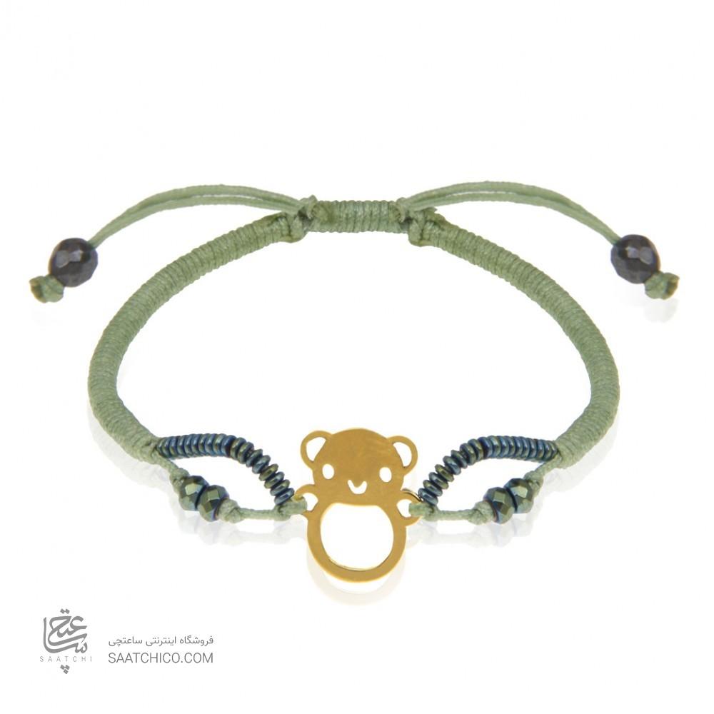 دستبند طلای کودک با بافت و سنگ کد KB308