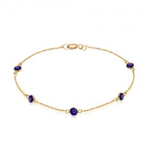 دستبند طلا زنانه با چشم نظر کد CB374