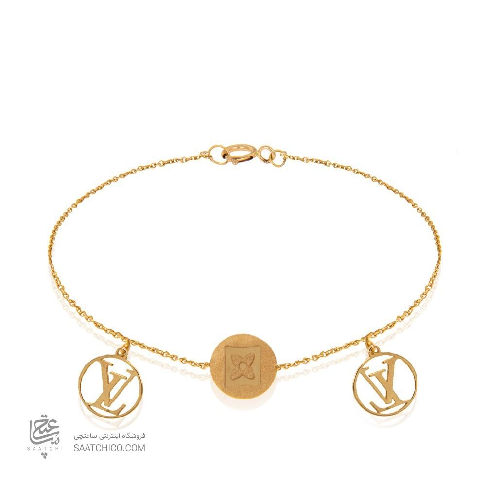 دستبند طلا زنانه با دو آویز دایره کد LB106