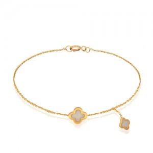 دستبند طلا با مینای صدفی کد CB301