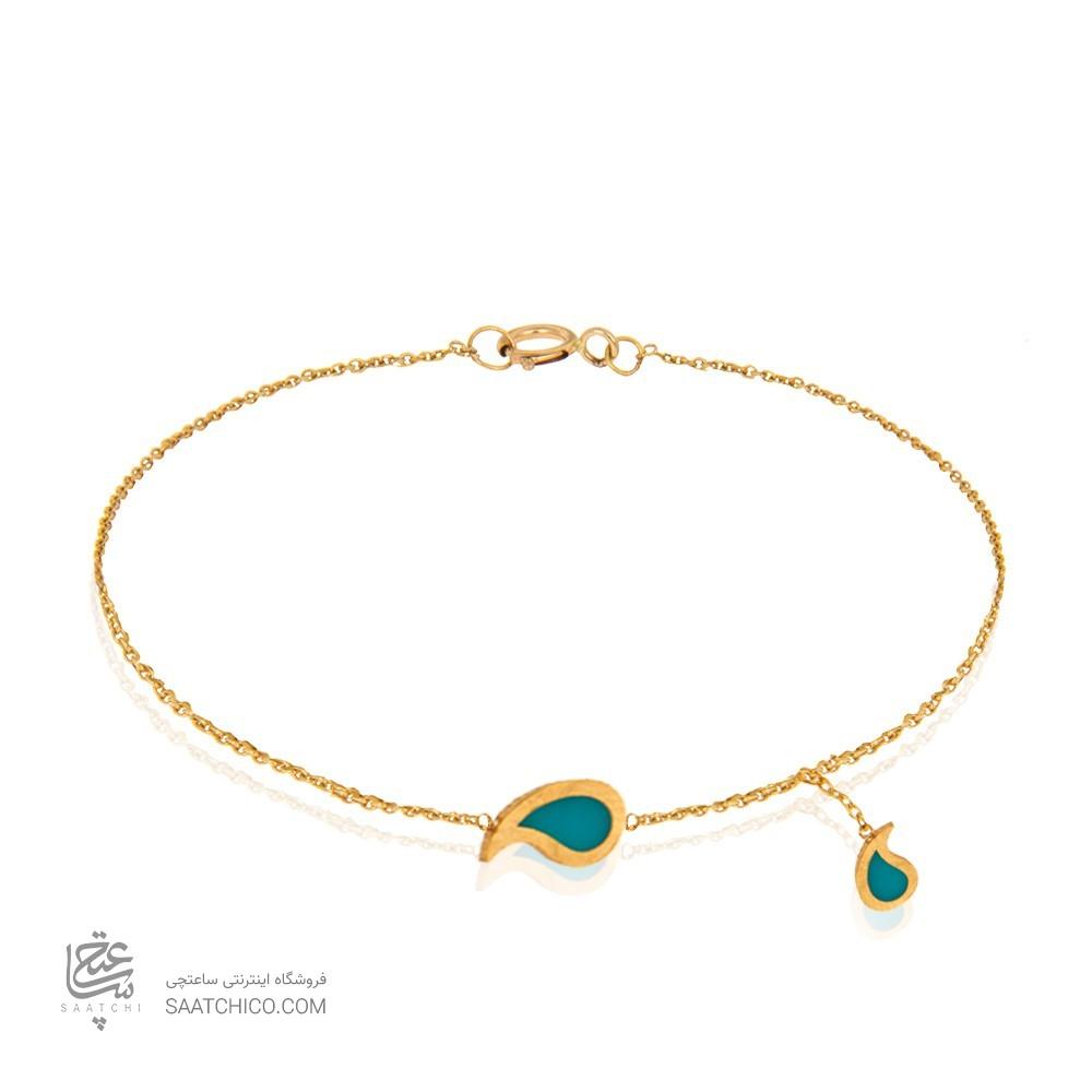 دستبند طلا با بته جقه فیروزه ای کد CB306
