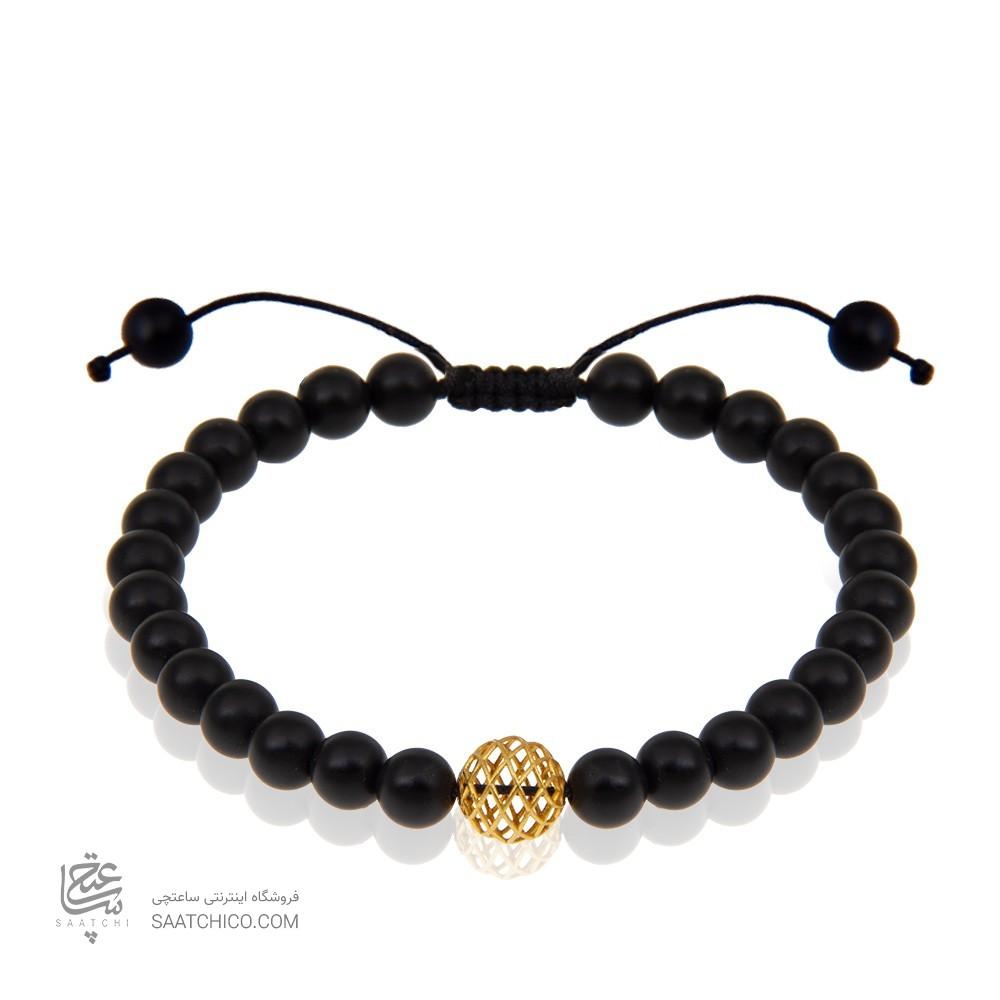 دستبند طلا مردانه با سنگ اونیکس کد MB119
