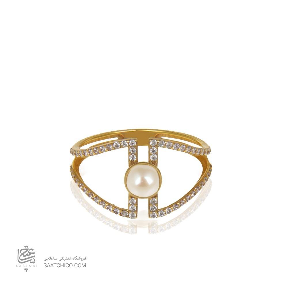 انگشتر نگیندار طلا با مروارید کد CR451