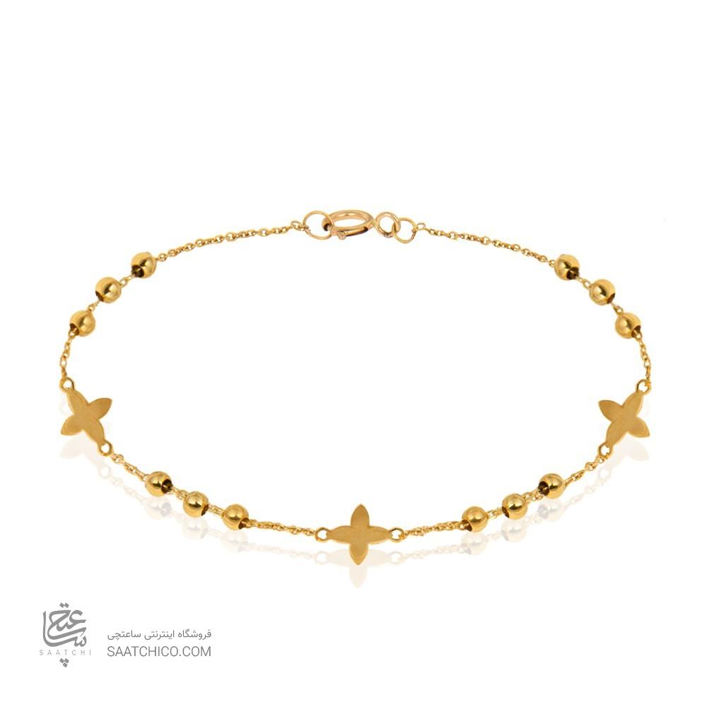دستبند طلا با گل و گوی کد CB372