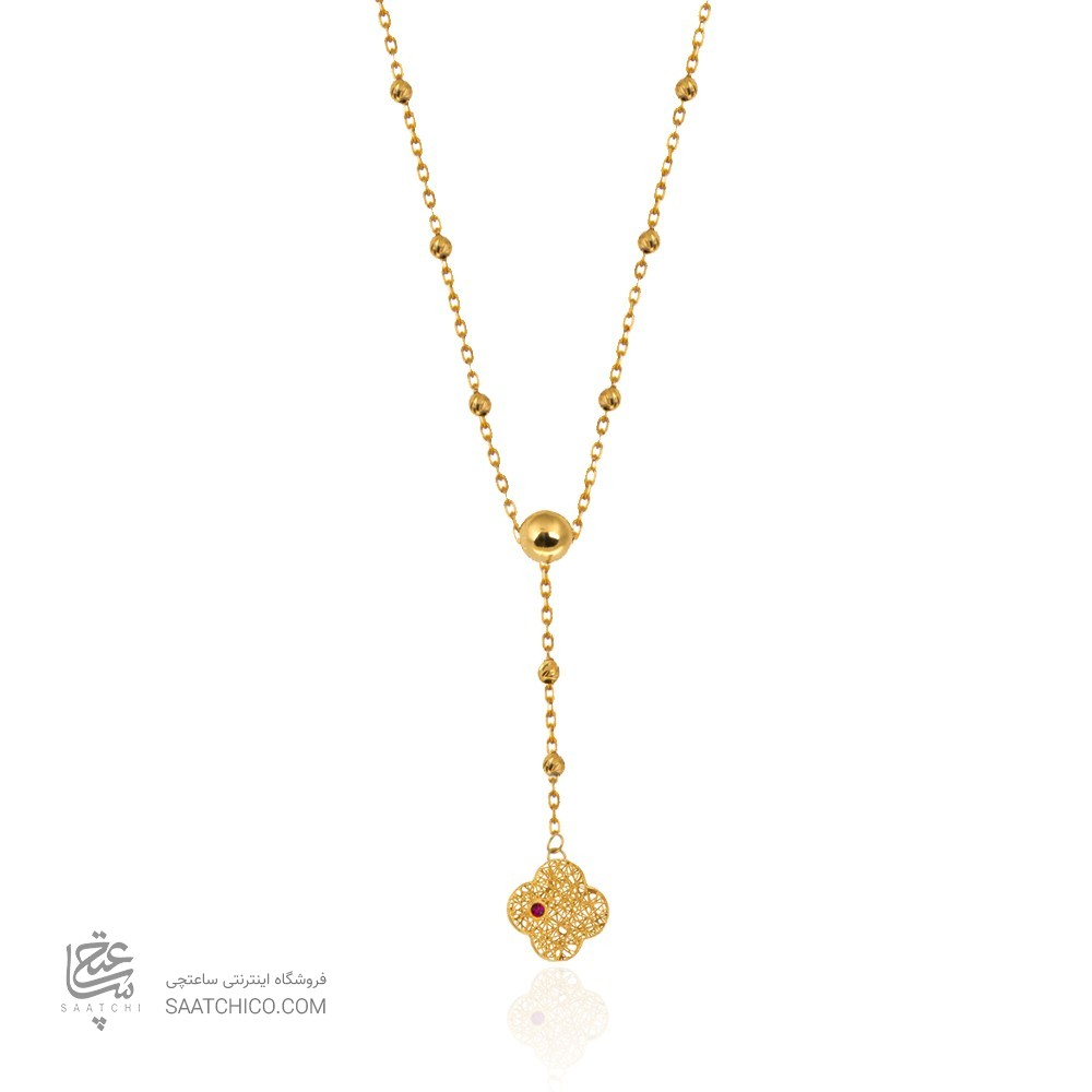 گردنبند طلا با گوی و آویز گل کد CN399