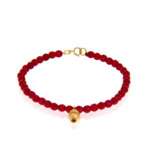 دستبند طلا طرح انار با سنگ قرمز کد XB964