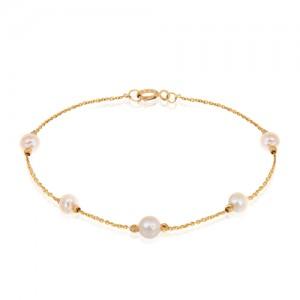 دستبند طلا با مروارید کد XB723