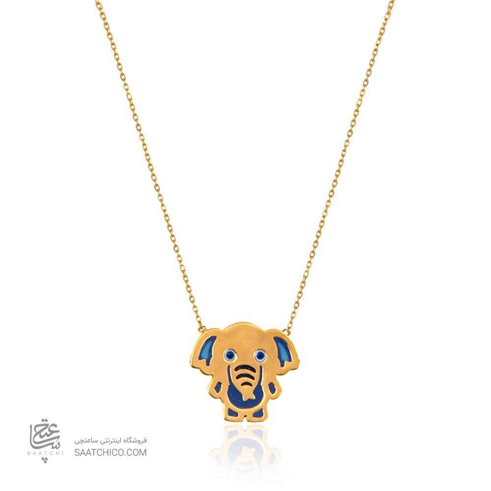 گردنبند طلای کودک طرح فیل کد kn717