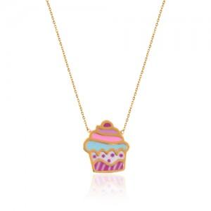 گردنبند طلای کودک طرح کاپ کیک کد kn715