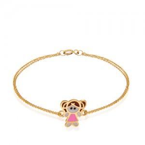 دستبند طلای کودک طرح دختر کد kb360
