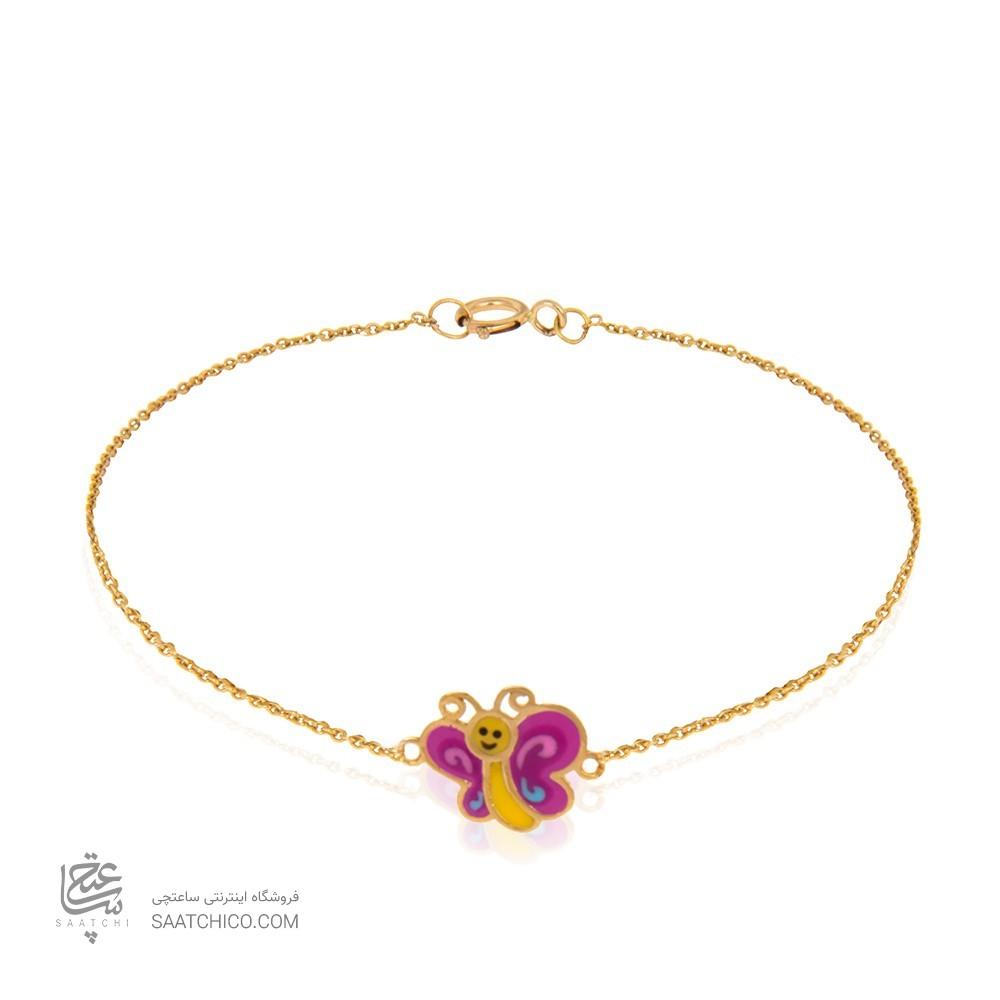 دستبند طلای کودک طرح پروانه کد kb355