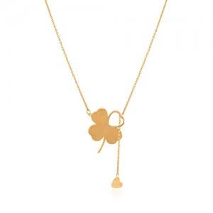 گردنبند طلا طرح گل شانس با آویز قلب کد LN850