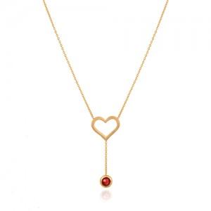 گردنبند طلا طرح قلب با آویز مارکو کد cn305