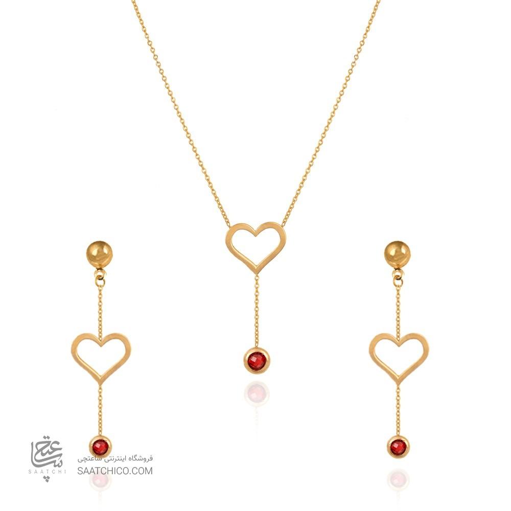 نیم ست طلا طرح قلب با آویز مارکو کد cs331