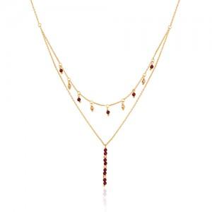 گردننبند دو لایه دست ساز طلا کد xn154
