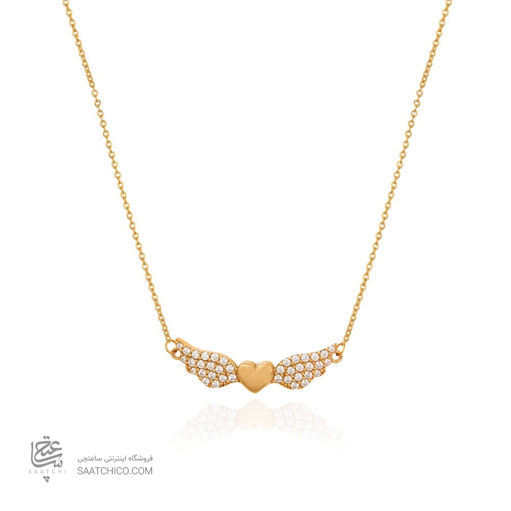 گردنبند طلا طرح قلب بالدار کد cn312