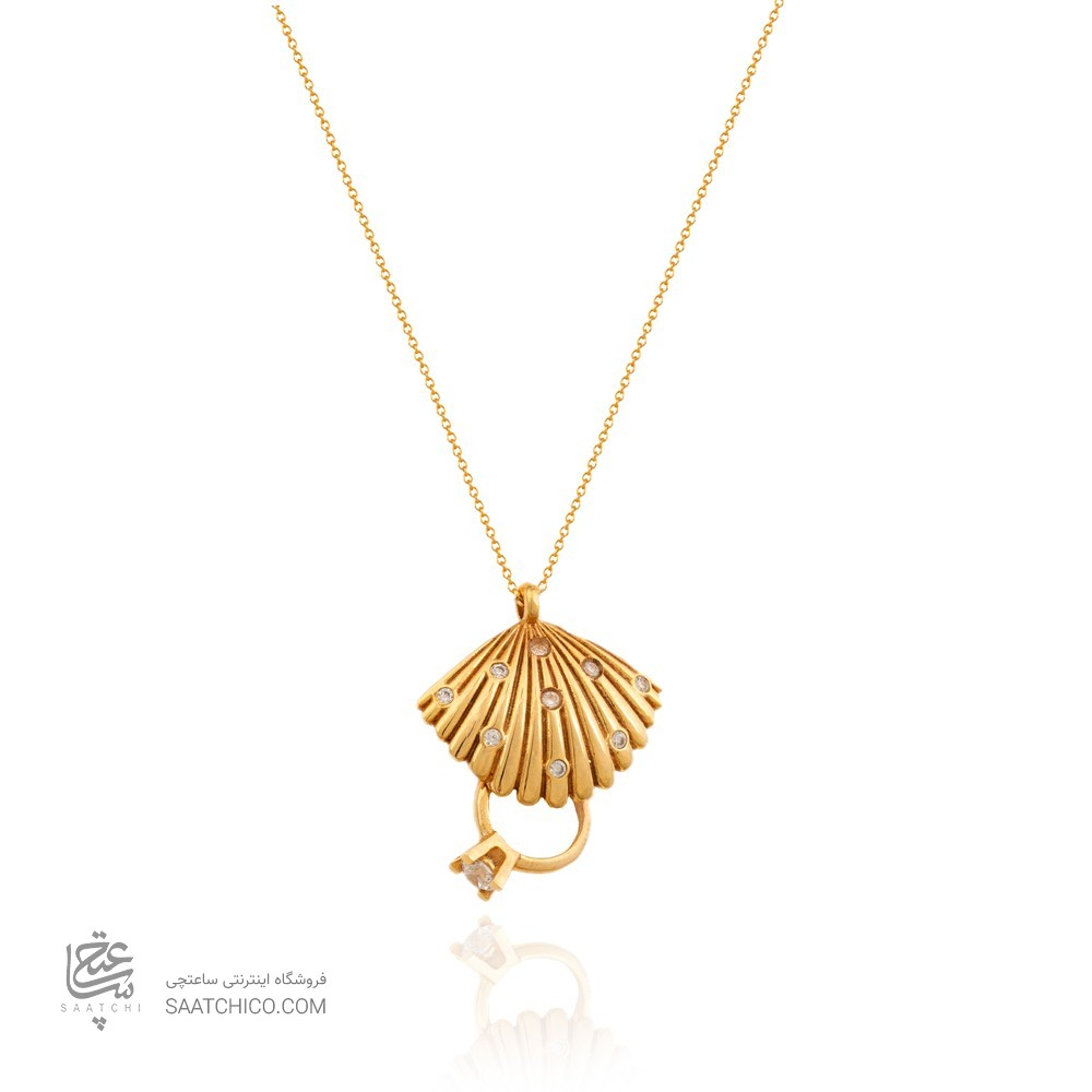 گردنبند طلا طرح حلقه و صدف کدCN413