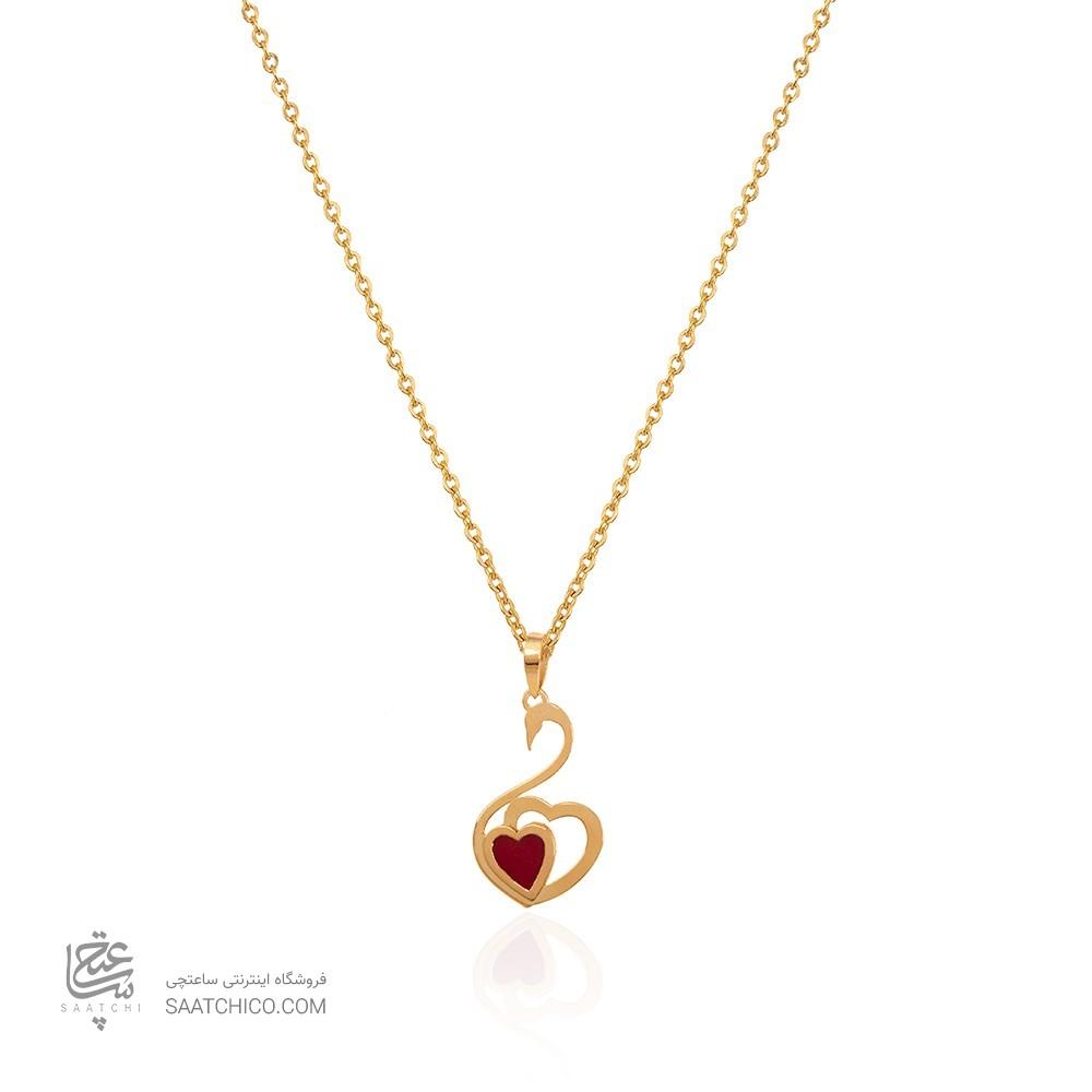 آویز طلا طرح قو با قلب قرمز میناکاری کد cp307