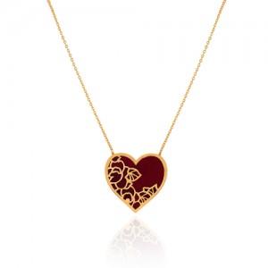 گردنبند طلا با قلب میناکاری کد cn414