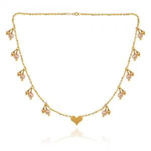 گردنبند طلا دست ساز با آویزهای گوی و مروارید کد xn153