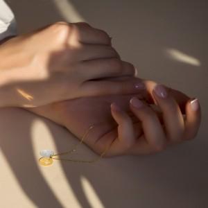 گردنبند طلای دورنگ با حکاکی کد ln856