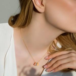 گردنبند طلا با سه قلب کد ln853