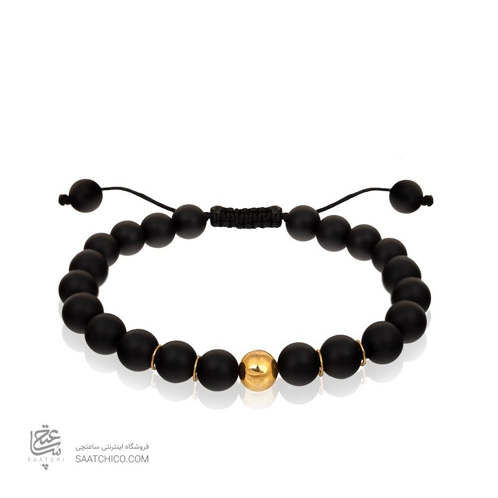 دستبند طلا مردانه با سنگ اونیکس کد MB123