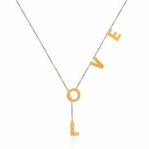 گردنبند طلای دورنگ با طرح Love کد ln857