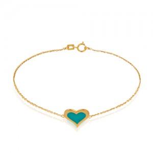 دستبند طلا طرح قلب با میناکاری فیروزه ای کد cb387