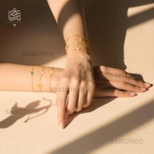 دستبند طلا با پروانه صدفی کد cb383