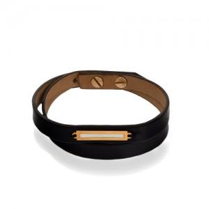 دستبند چرم و طلای مروانه کد MB127