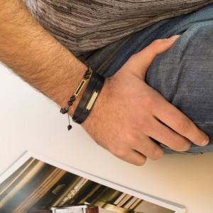 دستبند سنگ مردانه با پلاک طلا کد mb126