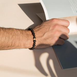 دستبند سنگ مردانه با مهره طلا کد mb125