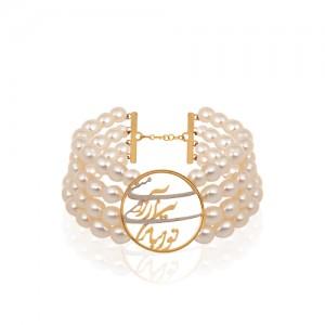دستبند طلا طرح شعر با مروارید کد xb802